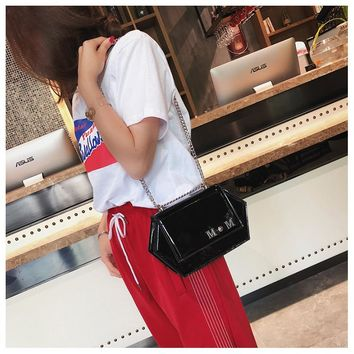 Girls Small Bag Female Summer Chain Personality Shoulder Bag Simple Versatile Patent Leather Messenger Bag
