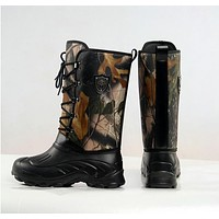 PLUS size mens Camouflage hunting fishing Boots Wellington wear boots EVA Lightweight camouflage waterproof snow boots 30cm