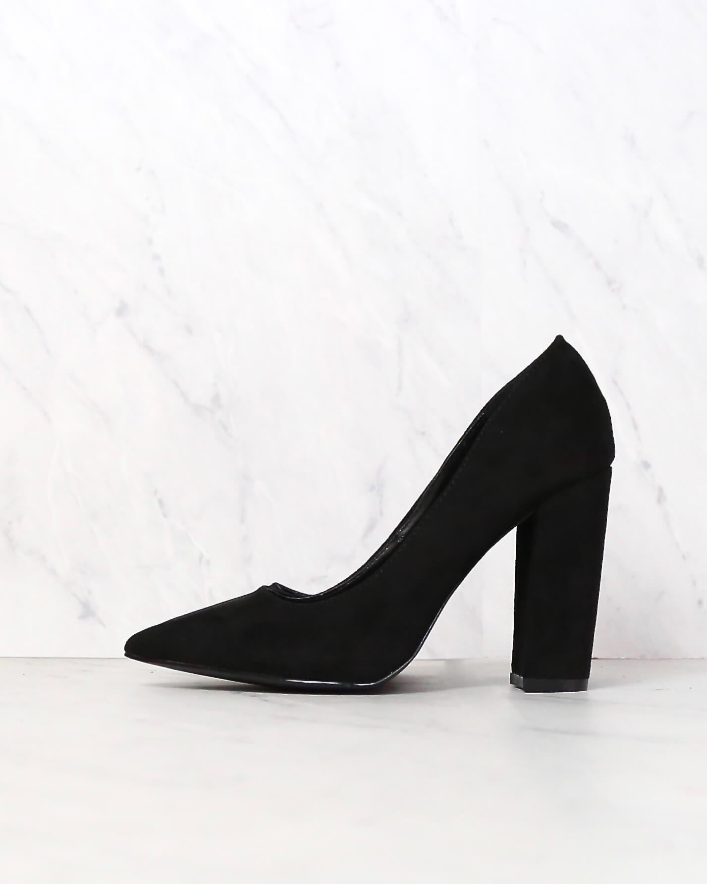Image of Vegan Suede Chunky Heeled Pointed Toe Pumps in Black