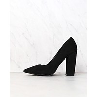 Vegan Suede Chunky Heeled Pointed Toe Pumps in Black