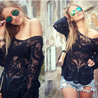 Sheer Lace Black Long Sleve Off the Shoulder Blouse
