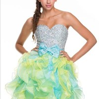 Short Ruffle Homecoming Dress with Bow in Mint