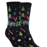 Merry Christmas Graphic Crew Socks