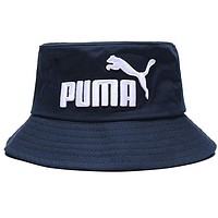 PUMA Fashion Women Men Casual Embroidery Canvas Fisherman Hat Cap Navy Blue