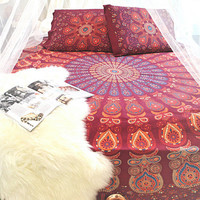 Shades of India Bohemian Mandala Boho 3 PC Set Bedding & 2 Pillow Cases - Free Shipping