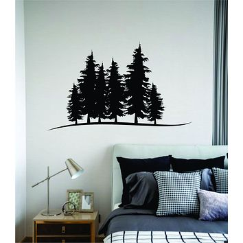 Trees Silhouette V2 Wall Decal Home Decor Sticker Art Vinyl Bedroom Boys Girls Teen Baby Nursery Nature Plants Flowers Forest Mountains