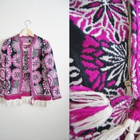 Purple Spoke - Vintage 1970s Purple Tapestry Weaved Tassel Fringe Fall Coat Jacket