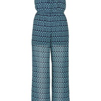 Patterned Tube Top Jumpsuit - Sea Green Combo