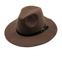 Coffee Belt Band Felt Fedora Hat