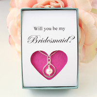 Will you be my Bridesmaid necklace Gifts for Bridesmaids proposal jewelry, wedding party gift, bridesmaid invite, boxed gift, pearl necklace