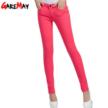 GAREMAY Women's Candy Pants Pencil Trousers 2016 Spring Fall Khaki Stretch Pants For Women Slim Ladies Jean Trousers Female 1010