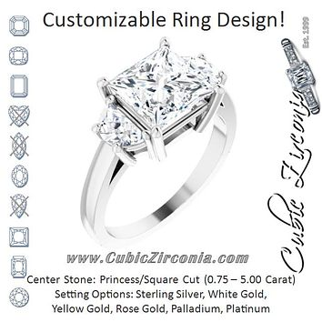 Cubic Zirconia Engagement Ring- The Bree (Customizable 3-stone Design with Princess/Square Cut Center and Half-moon Side Stones)