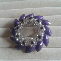 Closing sale - Purple, Black and white crystal goldtone   brooch  pin