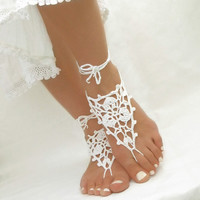 Openwork White Barefoot Sandals - Crochet Beach Wedding Anklet Jewelry - Pool Yoga Shoes - Gift for Her