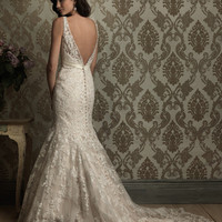 Ivory & Silver Embellished Floral Lace Tank Fitted Wedding Gown - Unique Vintage - Cocktail, Evening & Pinup Dresses