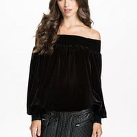 Off - Shoulder Velvet Top - Notion 1.3 - Black - Blouses & Shirts - Clothing - Women - Nelly.com