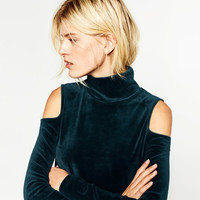 VELVET CUT-OUT SHOULDER SWEATER