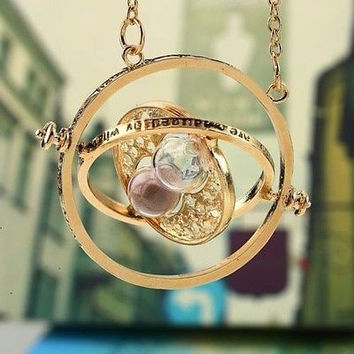 New Harry Potter Hermione Granger Rotating Time Turner Necklace Gold Hourglass