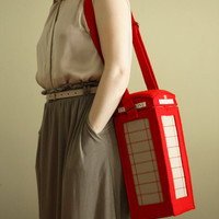 Red London Telephone Booth Purse