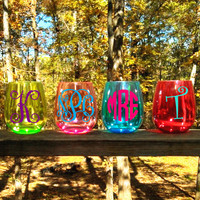 Colored Monogrammed Acrylic Stemless Wine Glass