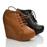 Jello By Soda, Pointy Toe Lace Up Ankle Platform High Hidden Wedge Heel Booties