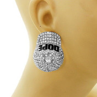 "SILVER BLACK Bling Rhinestone ""DOPE"" BASEBALL CAP Statement Earrings Metal"