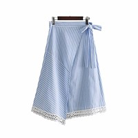 BLUE & WHITE STRIPE IS JUST RIGHT WRAP SKIRT