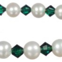 """White Freshwater Cultured Pearl and Crystallized Swarovski Elements May Birthstone Emerald Colored Bicone Stretch Bracelet, 7.5"""""""