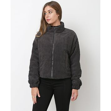 Hello Again Bomber Jacket - Charcoal Gray