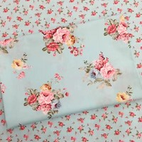 100% cotton elegant  pastoral blue rose floral twill fabric for DIY kids doll crib bedding pillow dress handwork patchwork cloth