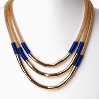 Blue Gold Layered Link Necklace/Earring Set