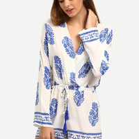 Surplice Front Drawstring Waist Printed Romper [6259216004]