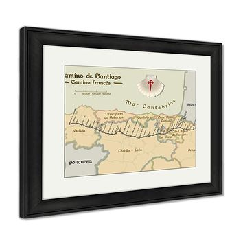 Framed Print, Old Style Map Of Saint James Way French Route
