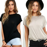 Women's Trending Popular Fashion Summer Sexy Loose Backless Short Sleeve Solid Erotic T-Shirt  _ 3710