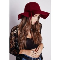 Dory Bow Detail Floppy Hat Wine - Accessories - Hats, Scarves & Gloves - Missguided