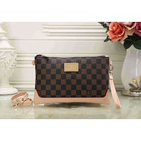 LV Popular Shopping Leather Handbag Wrist Bag Purse Wallet Coffee Tartan I-KSPJ-BBDL