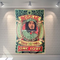 """""""BOB Marley"""" Pop Band Sign Cloth Flag Four-Hole Hanging paintings Cafe Hotel Music Studio Decoration"""