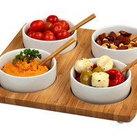 5-Pc Bamboo Square Serving Set, Serving Plates & Platters