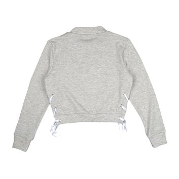 Side Cross Tie Up Cropped Sweatshirt
