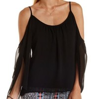 Tulip Sleeve Cold Shoulder Top by Charlotte Russe