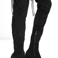 Stunning Steps Black Suede Over the Knee Boots