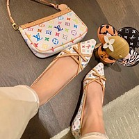 LV Louis Vuitton new women's flat-soled shoes women L home full pattern printed ballet flat shoes loafers