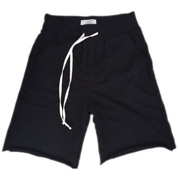 Black French Terry Sweat Shorts w/ Extrended Drawstring