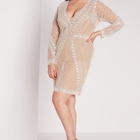 Missguided - Plus Size Embellished Dress Nude