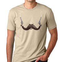 Mens Mustache and Guns T-Shirt, Cool Funny Tee, Indie, Punk, Available in S M L XL XXL