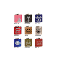 6 oz. Colored Stainless Steel Personalized Flask, Bridal Party Gifts