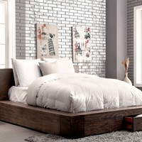 Bazan Transitional Low Profile Storage Cal-King Bed in Natural