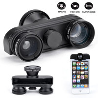 Fish Eye+Wide Angle+Macro Lens 4in1 Camera Lens Kit for Apple iPhone 4 4S  7_S (Color: Black)