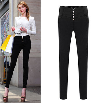 Buttons Front Skinny Pants
