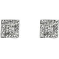 Rica Pave Square CZ Stud Earrings | Cubic Zirconia | Silver